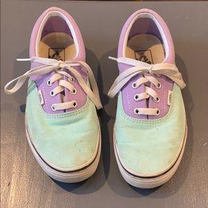 Vans purple and mint shoes